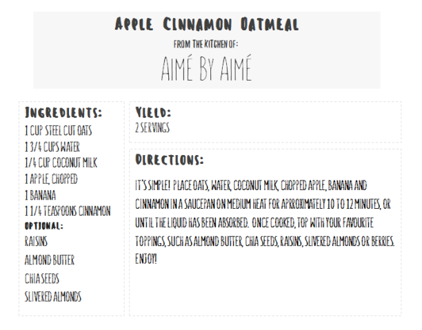 Apple Cinnamon Oatmeal Recipe Card